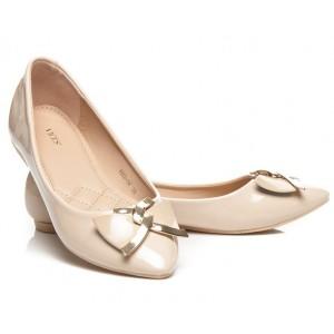 Béžové balerínky pre dámy so zlatou aplikáciou