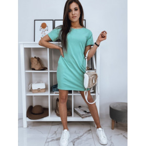 Dámske mentolové pohodlné šaty s bočnými vreckami