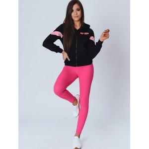Pohodlná dámska športová mikina v čierno rúžovej farbe