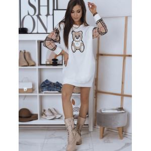 Sportové dámske mikinové šaty s módnou potlačou medveďa