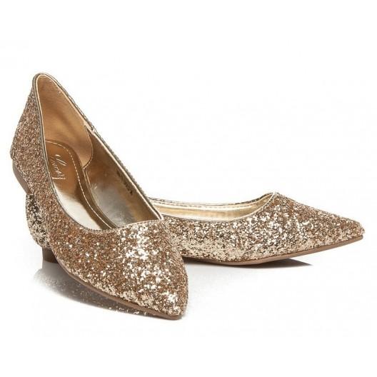 Elegantné dámske balerínky zlatej farby