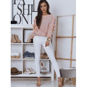 Krásny elegantný rúžový dámsky sveter