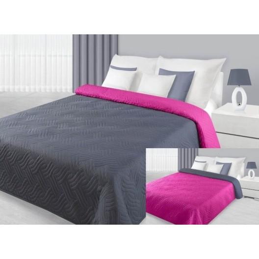 Sivo ružový obojstranný prehoz so zaujímavým prešívaním