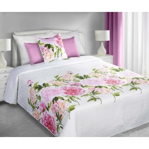 Biely obojstranný prehoz na posteľ s farebnými kvetmi