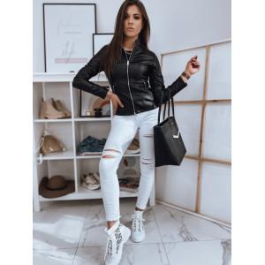 Sexy dámska čierna kožená bunda so stand up golierom