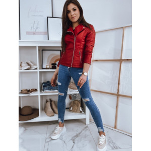 Štýlová dámska červená kožená motorkárska bunda