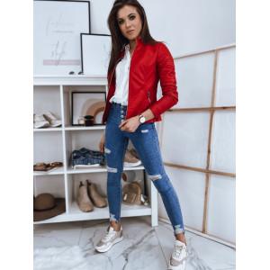 Krásna dámska kožená bunda v červenej farbe