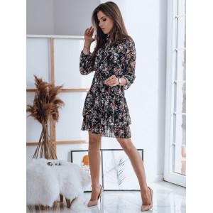 Čierne dámske šaty s potlačou kvetov a zapínaním na gombíky