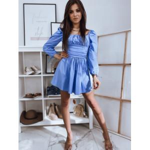 Letné dámske modré šaty hispánky so širokým pásom