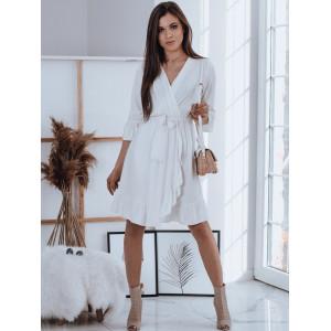 Trendy dámske biele zavezovacie šaty s efektnými volánmi