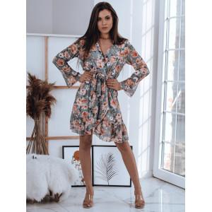 Krásne dámske sexy zavinovacie mentolové šaty s motívom ruží