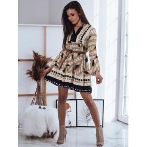 Moderné dámske oversize šaty v hnedej farbe