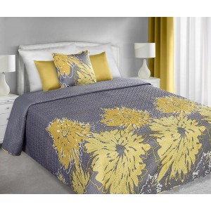 Tmavosivý obojstranný prehoz s potlačou žltých kvetov