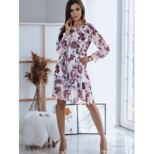 Krásne bielo fialové dámske šaty s vintage motívom kvetín