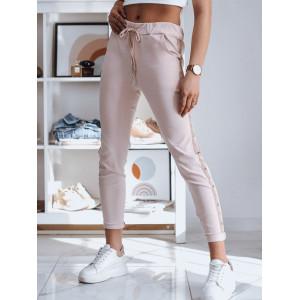 Športové dámske ružové nohavice s kontrastným pásom s cvokmi