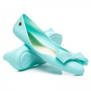 Modré dámske gumené balerínky