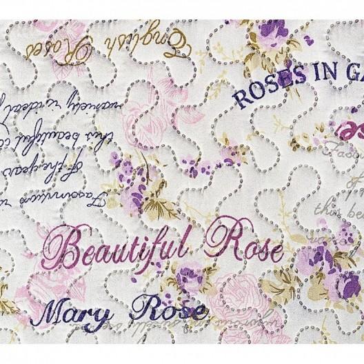 Biely obojstranný prehoz s nápismi a motívom ružových ružičiek