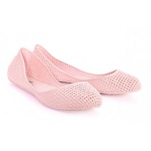 Dámske balerínky ružovej farby dierkované