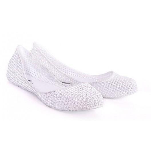 Bielo strieborné dierkované dámske balerínky