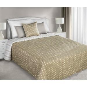 Hnedo zlatý obojstranný prehoz na posteľ s motívom bodiek