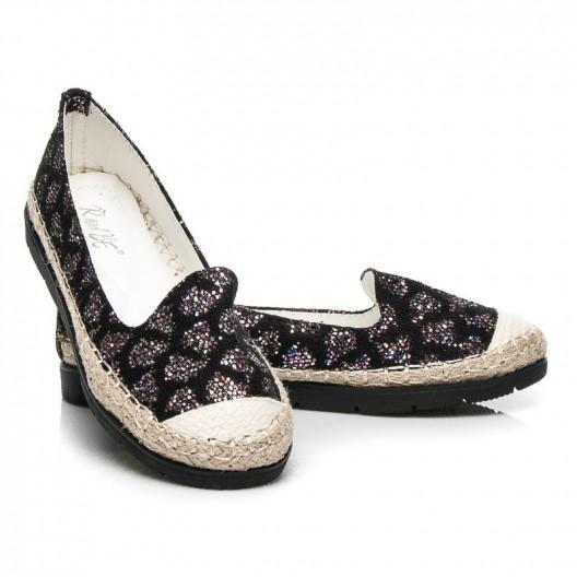 Brokatová dámska obuv čierne espadrilky