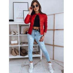 Moderná dámska červená kožená bunda so stand up golierom na cvok