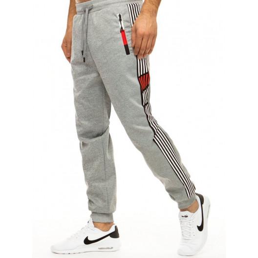 Športové pánske sivé tepláky v jogger štýle