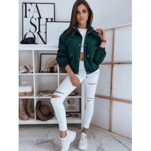 Trendy dámska zelená bunda na jar krátkeho strihu