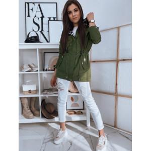 Trendy dámska prechodná zelená bunda parka s kapucňou