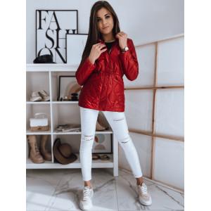 Fenomenálna dámska červená prechodná bunda so zapínaním na zips