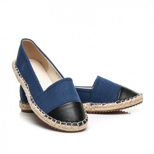 Espadrilky pre dámy v modrej farbe s čiernou špičkou