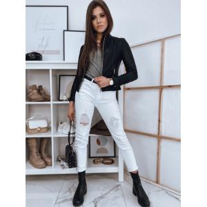 Kvalitná dámska krátka čierna kožená bunda s módnym prešívaním