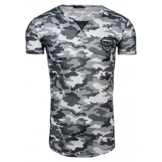 Tričko s krátkym rukávom modro sivej farby s maskáčovým vzorom