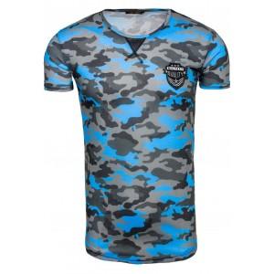 Maskáčové tričko s krátkym rukávom svetlo modrej a sivej farby