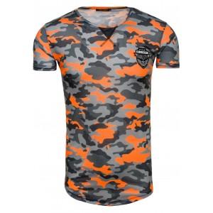 Sexi tričko pre pánov sivo oranžovej farby s maskáčovým motívom