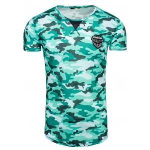 Pánske tričko s okrúhlym výstrihom v modro bielej farbe