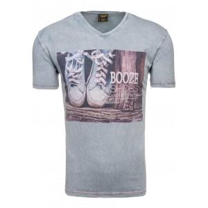 Pánske tričko s motívom topánok sivej farby