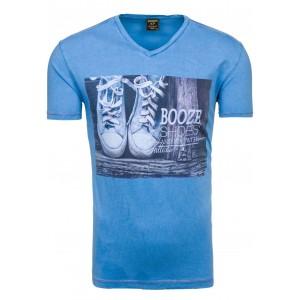 Booze Shoes pánske tričko v svetlomodrej farbe