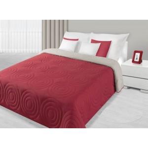 Prešívaný prehoz na manželskú posteľ červenej farby