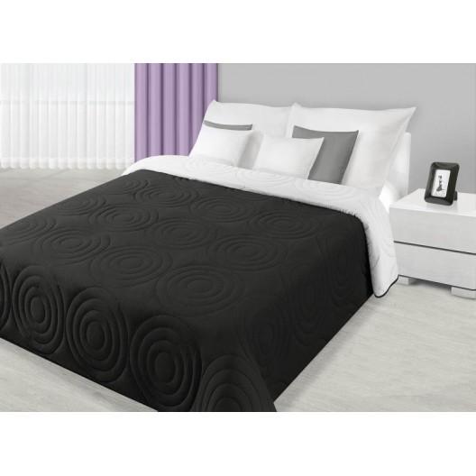 Prehoz na manželskú posteľ čiernej farby s prešívaným motívom