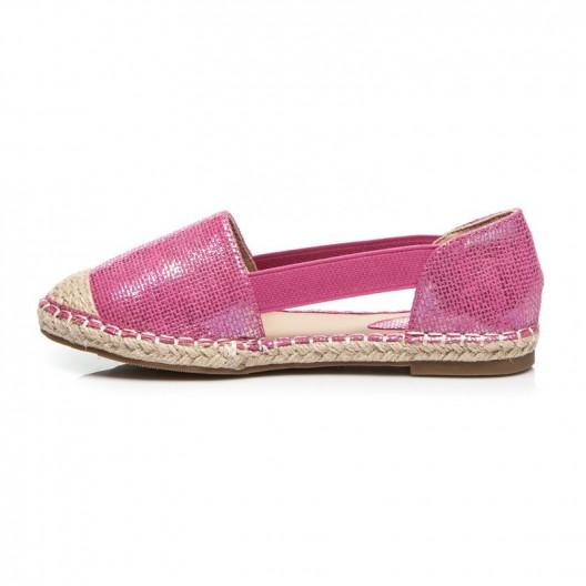 Dámske espadrilky ružovej farby s gumou na boku