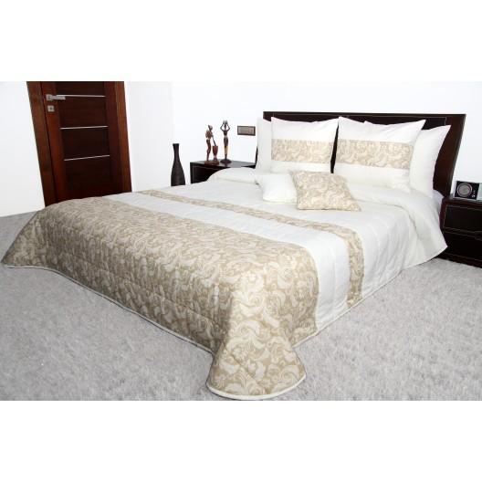 Luxusný prehoz na posteľ bielo béžovej farby so vzorom