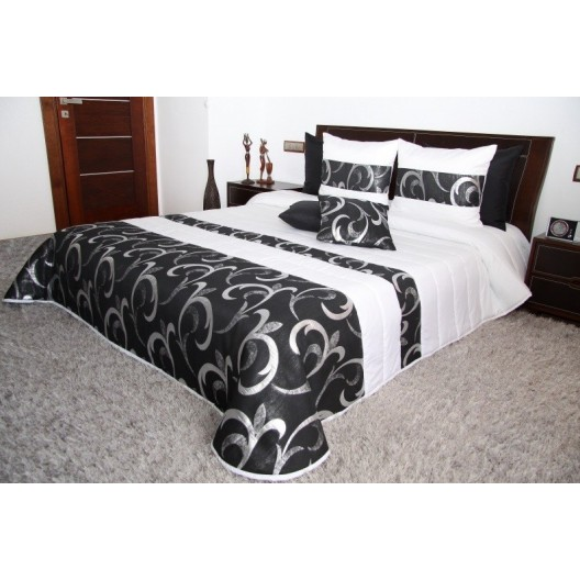 Bielo čierny luxusný prehoz na posteľ so vzorom