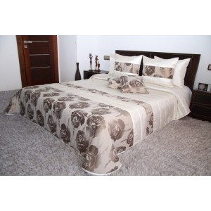 kua Krémovo béžový prehoz na manželskú posteľ s ružami