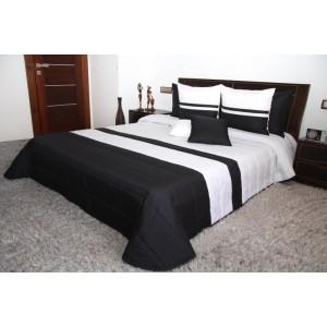 Štýlový obojstranný prehoz na manželskú posteľ čierno bielej farby