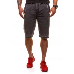 Krátke pánske teplákové nohavice v tmavo sivej farbe