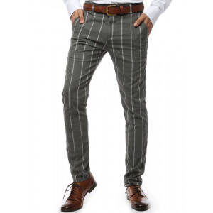 Pánske elegantné Chinos nohavice v šedej farbe s bielymi pružkami