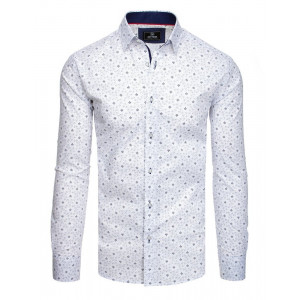 Krásna pánska košeľa v bielej farbe so vzorom a dlhým rukávom
