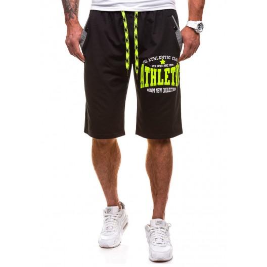 Krátke pánske teplákové nohavice v čiernej farbe