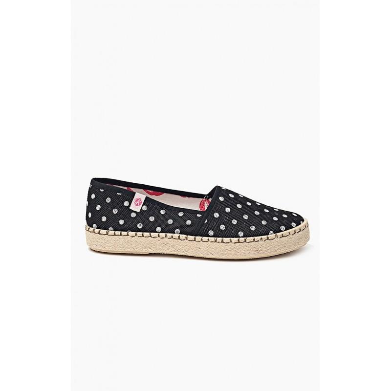 Dámska obuv čierne espadrilky s bielymi bodkami - fashionday.eu 2b0aba2f1ad